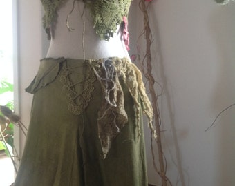 Forest Elven long green skirt, in natural earthy raw silk
