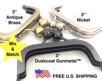 50 of 3x1.5 Nickel metal coin purse frames Mix & Match ANY Antique Brass, Nickel or Duskcoat Gunmetal™