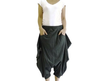 Funky Harem Boho Capric Drop Crotch Dark Charcoal Grey Cotton Jersey Pants With Zipped Flap Side And Elastic Waist