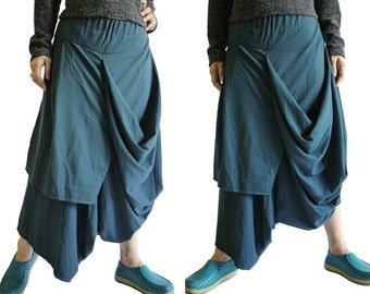 SALE - Steampunk Funky Drop Crotch Dark Teal Green Stretch Cotton Draped Pants With Elastic Waist & Asymmetrical Hem