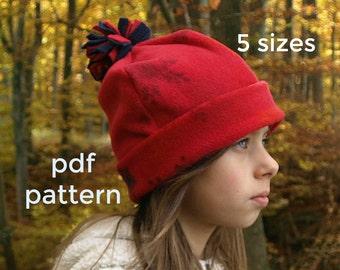 Girls hat pattern (S123), Kids hat pattern, Fleece pattern, Hat sewing pattern, Boys hat pattern, Hat patterns sewing - Boys, Girls, Baby