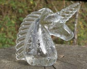 Vintage Bubble Glass Unicorn Paperweight, Clear Figurine