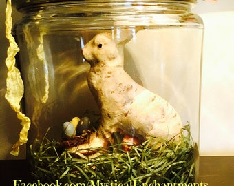 Large Easter Bunny Glass Apothecary Jar