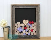 wedding guestbook drop box guest book barn wood style frame with hearts custom guestbook box wedding guestbook alternative