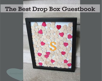 drop box wedding geustbook  top drop box with  custom letter droptop Hearts personalized wedding colors alternative  drop top guestbook