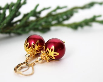Red Christmas Earrings, Christmas Ornament Earrings, Holiday Earrings, Red and Gold Cocktail Party - Red Christmas Ball Earrings