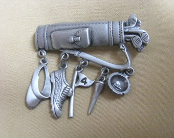 Pewter tone golf bag pin brooch with golf related dangles by JJ