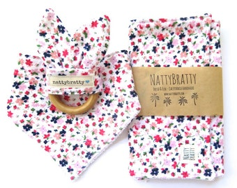 Modern Baby Bib - Burp Cloth - Teething Ring - Gift Set or Individual Sale - Floral Calico Print - Baby Gift - Baby Shower Gift