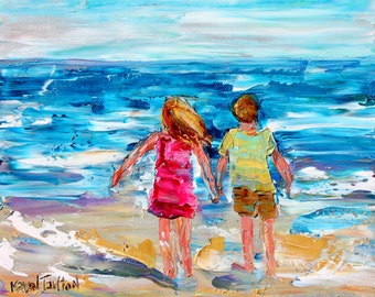 Beach Children painting original oil abstract impressionism fine art impasto on canvas by Karen Tarlton