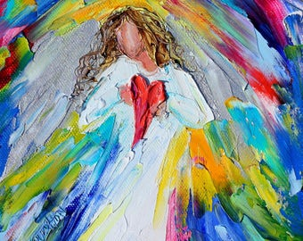 Little Angel of My Heart PRINT made from image of past oil painting by Karen Tarlton fine art impressionism