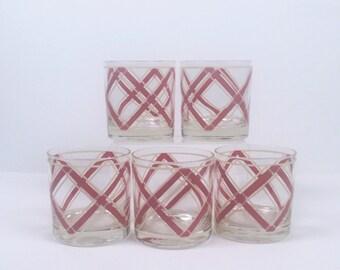 5 Vintage Georges Briard Glasses Signed - Burgundy andIvoey Basketweave Pattern-Mod Century Barware-Vintage Barware-Vintage Lowball Glasses