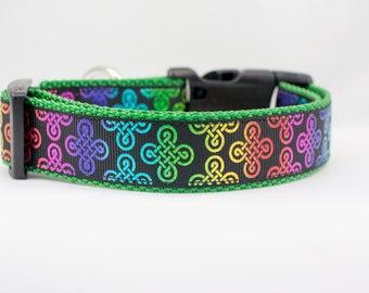 Rainbow Celtic Plaid Dog Collar - 1 inch wide - buckle or martingale collar - irish dog collar - celtic knot dog collar - st patricks day