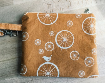 Organic Cotton Farmers Market Bag with Clip in Orange with Birds and Linen