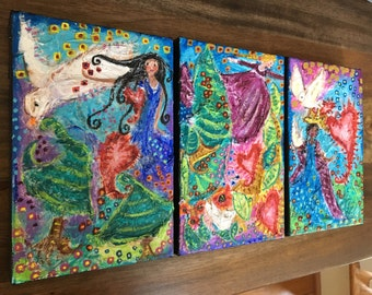 Creating Her World Three Mixed Media Very Textured Acrylic Paintings on Stretched Canvas 4 x 6