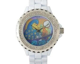 Peacock in City Original Art Women's Rhinestone Enamel Watch in Black or White