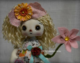 Primitive Folk Art Raggedy Sunny Annie doll ooak cute Handmade collectible  summer Spring button eyes rag ocr