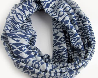 Blue and White Cotton Infinity Scarf - Summer Cotton Loop Scarves - Current Trend Infinity Scarf