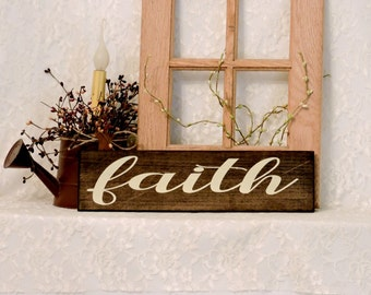Faith - Primitive Country Painted Wall Sign, Wall Decor, Inspirational Sign, Inspirational Decor, Ready to Ship