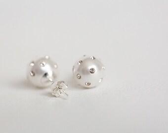 Pearl earring, Bridal ear pearl, pearl earrings stud, Crystal earring stud, wedding earrings jewelry bridesmaids, Sterling silver studs