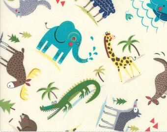 Hello World Wild Things Cream Fabric - Moda 35301 11 - BTY One 1 Yard Cut - Children's Novelty Fabric - Baby Quilt Fabric - Animals Fabric