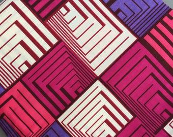 African fabric by the yard, premium quality cotton in geometric print, pink and purple/blue, for sewing, clothing, quilting and more!