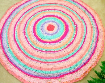 "rag rug ""braided"" crochet  Lilly Pulitzer-inspired -FRUIT SALSA! - yeti beach vibe, hot pink, lime green, turquoise,  coral 60 "" across"