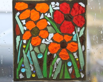ORANGE AND RED  Suncatcher . Stained glass Mosaic, SunCatcher or wall Decoration