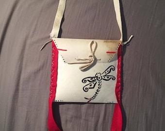 Native American Made Dragonfly Parfleche bag Rawhide  medicine bag deer pow wow regalia