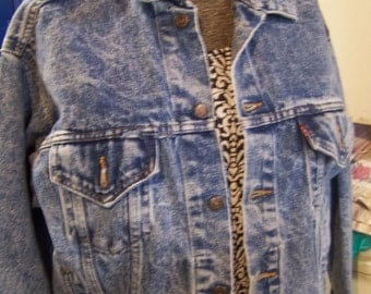 Levis Acid Wash Men's Denim Jacket, Size Med Mens, Ladies Size Large/XL, Jean Jacket, Boyfriend, Grunge