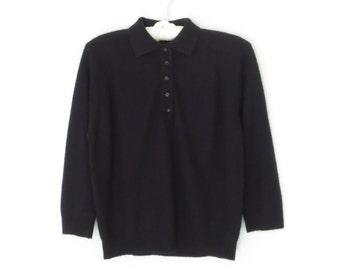 Classic Black Sweater * Vintage Sweater * Preppy Pullover Sweater * Medium