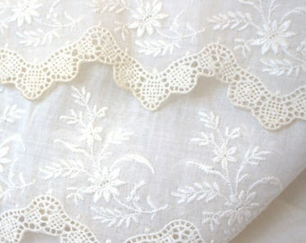 Victorian Wide Embroidered Cotton Dress Lace with Crochet Edge