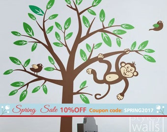 Monkey Tree Wall Decal 2 Monkeys swinging from Tree and Branch with Birds Wall Decal - Nursery Kids Room Decor Baby Sticker Vinyl Wall Decal