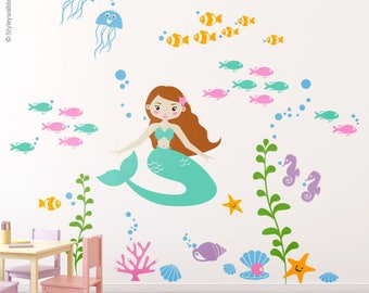Mermaid Wall Decal, Mermaid Nursery Stickers, Underwater Wall Decal, Ocean Wall Decal, Fishes Wall Decal, Nursery Playroom Wall Decals