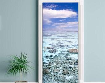 Sea View Door Sticker,  Sea Door Wallpaper, Door Mural, Nature Door Wall Sticker, Living Room Bedroom Home Decor, Nature Wall Decor Mural