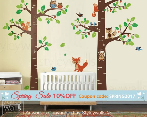 Forest Animals Wall decal, Children Wall Decal Tree Tops Woodland Animals Critters Nursery Baby Playroom Kids Vinyl Wall Sticker Wall Decal