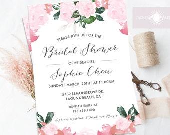 Bridal Shower Invite, Floral Bridal Shower Invitation, Pink, Printable Invite, Bridal Shower, Watercolor Flower Invite, jadorepaperie