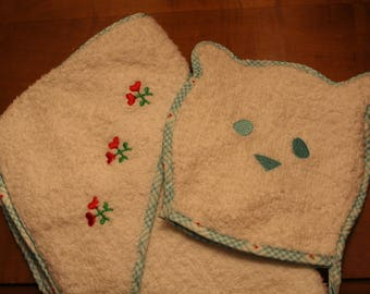 American Girl Bitty Baby Bath Mit and Hooded Towel or Receiving Blanket