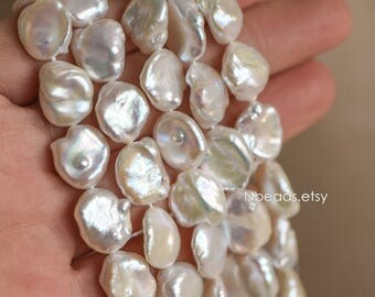 "White Keshi Petal Pearls, Coin Baroque Freshwater Pearls, Full Drilled, 11-13mm, (PL11-14) 15.5"" full strand"