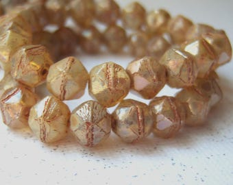 Czech 8mm English cut Champagne glass beads with a luster finish (20) per lot -  TY150