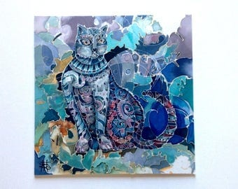 DECORATIVE BLUE CAT.Original painting on silk. Art. 12.0x12.0 inches
