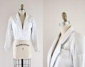 S A L E 1980's White Crop Leather Coat Sz S - Damaged / Mark Down