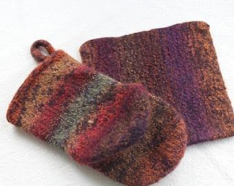 Multi Color Knit Felted Wool Oven Mitt Set, Plum, Rust, Green, Red, Brown Wool Felt Oven Mitt, Wool Hotpad Mitt Set, Rust Wool Oven Glove