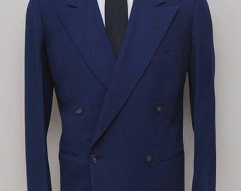 1940-50s men's blue double breasted blazer/ 40-50s men's blue double breasted blazer