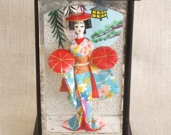 Geisha Shadow Box, OMC Japan, Japan, Souvenir, Dolls, Asian Doll, Japanese, Mid-Century, Asia, Glass Box, Diorama, Traditional, Costume, Art