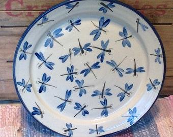 Blue dragonfly design handmade ceramic plate - large pottery plate - pottery party platter - pottery serving plate - 1701