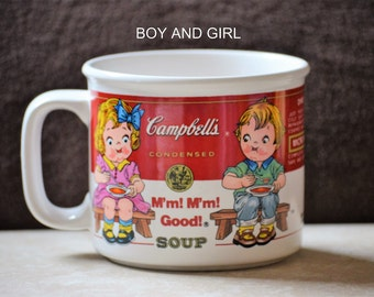 Campbells Soup Kids Mugs/Campbells Soup Bowls/Boy and Girl/Garden/Lunch Date/Career/ Westwood International/Red and White Mugs/ 1993