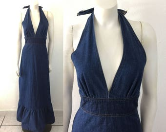 Vintage 1970s Denim Halter Dress with Metal Equipments Militaires Buttons