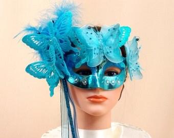 Aqua Blue Mask, Masquerade Mask, Party Mask, Mardi Gras Mask, Halloween Mask, Mask Centerpiece, Costume Mask, Blue Feather Mask