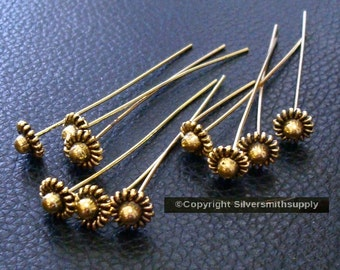 Antique Gold plated flower jewelry head pins 10 pcs 2 inch 50mm long fhg023
