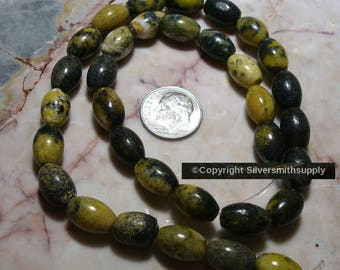 "15"" Yellow turquoise (jasper) 1/2 smooth oval beads apprx 32pcs 12x8mm bs022"